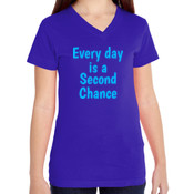 Second Chance Day  - Girls V-Neck Fine Jersey T-Shirt