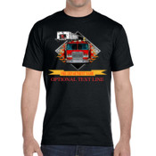 SAC4 Fire Truck with Flames and name banner - DryBlend® 5.6 oz., 50/50 T-Shirt