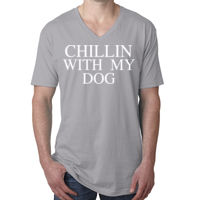 Chillin with my dog - Men's Premium Fitted Short-Sleeve V-Neck Tee Thumbnail