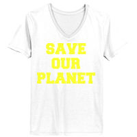 SAVE OUR PLANET - Ladies' Junior Fit V-Neck T-Shirt Thumbnail