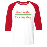 * Dear Santa It's a long story  - Heavy Cotton ¾-Sleeve Raglan Thumbnail